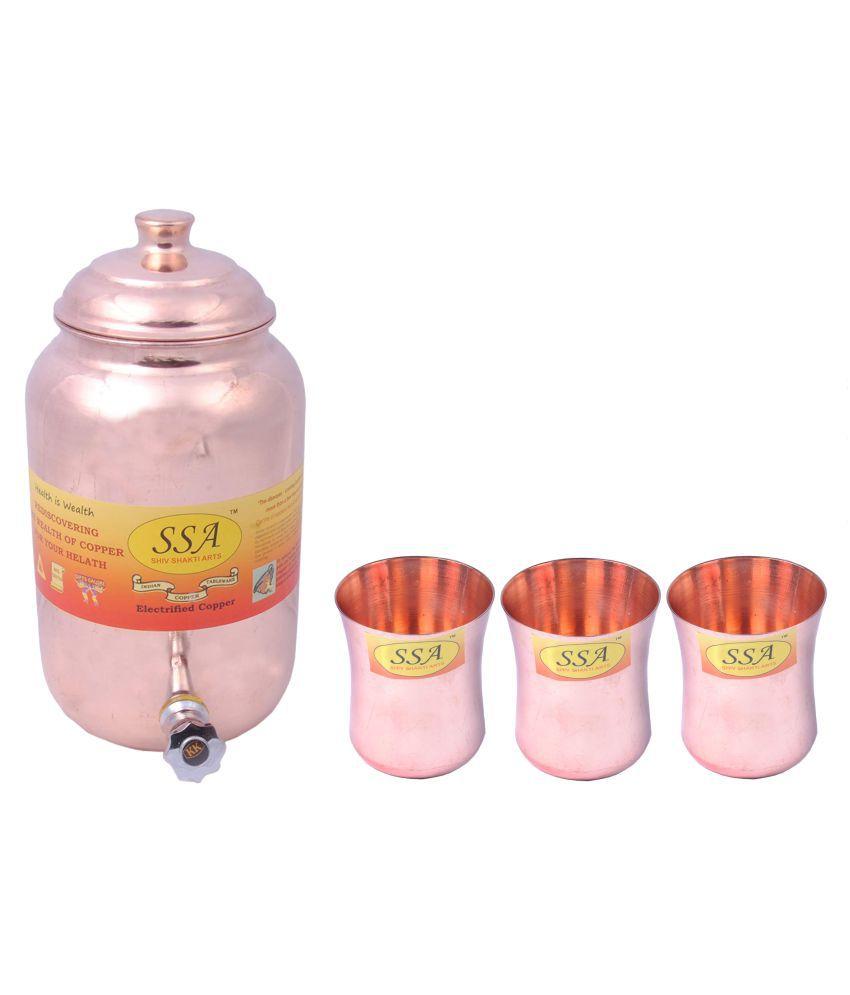Shiv Shakti Arts 1 Pot & 3Glass Combo 3 Pcs Lemon set