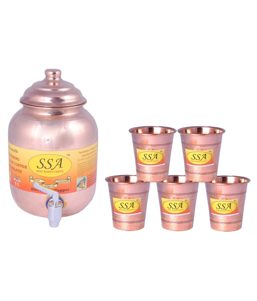 Shiv Shakti Arts 1 Pot & 5Glass Combo 5 Pcs Lemon set