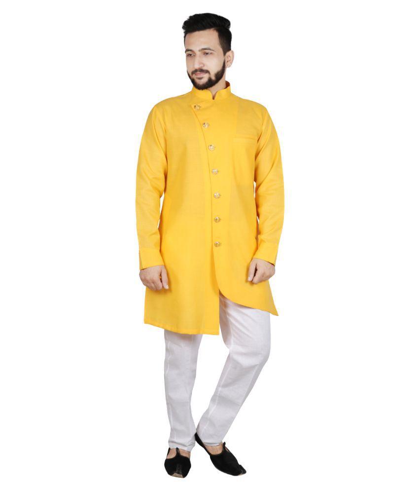 SG LEMAN Yellow Cotton Kurta Pyjama Set