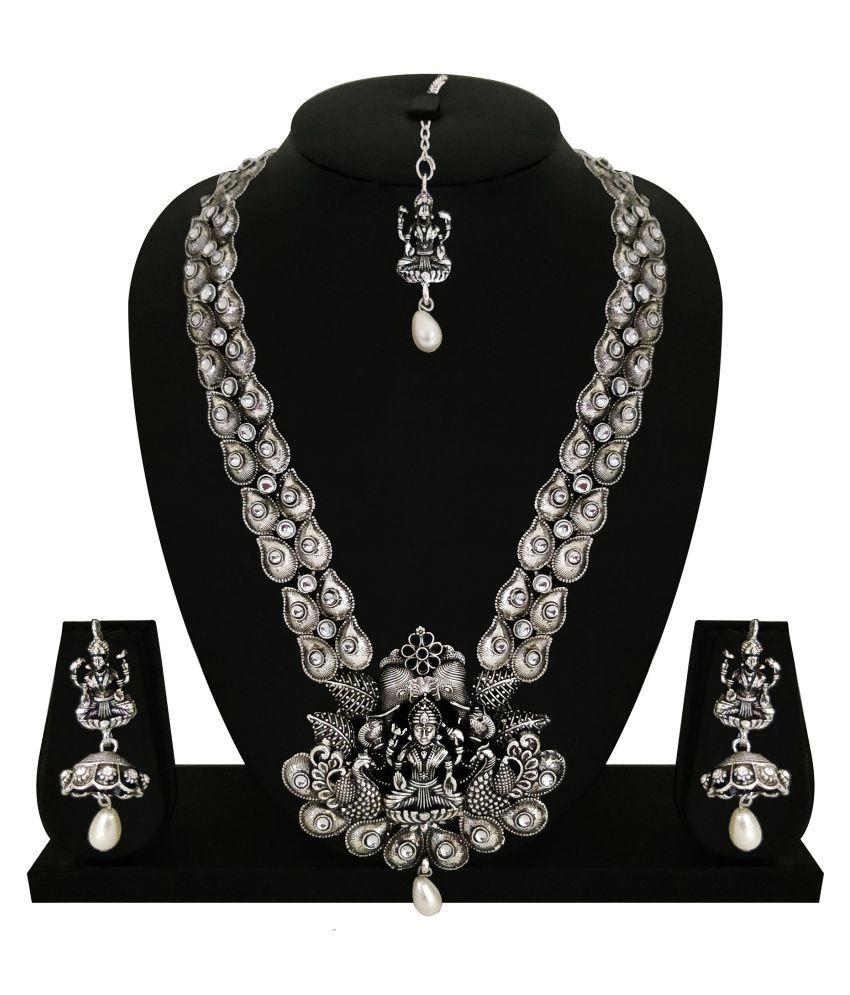 Matushri Art Alloy Silver Long Haram Traditional Silver Plated