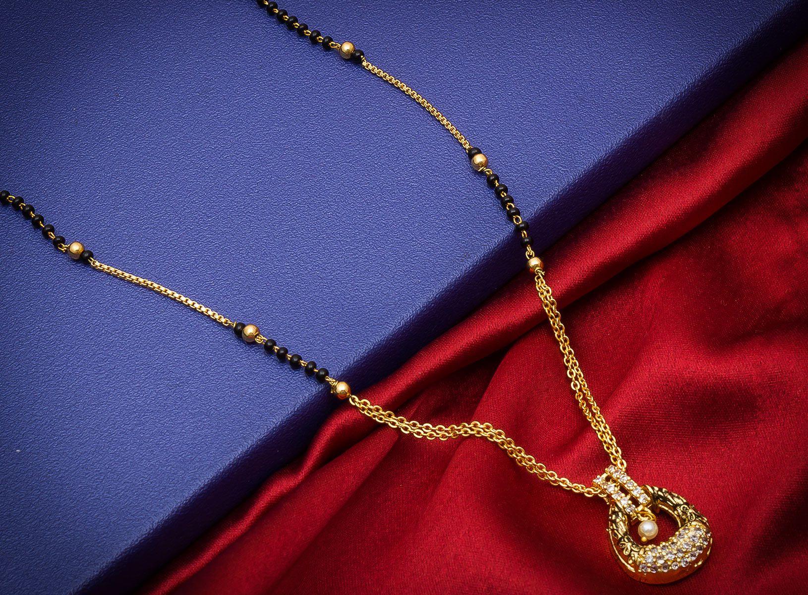 Aadita Designer Gold Plated American Diamond Mangalsutra for Women