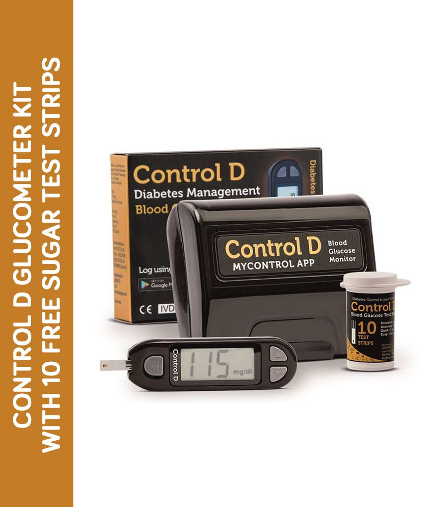 Control D glucometer kit with 10 free sugar test strips