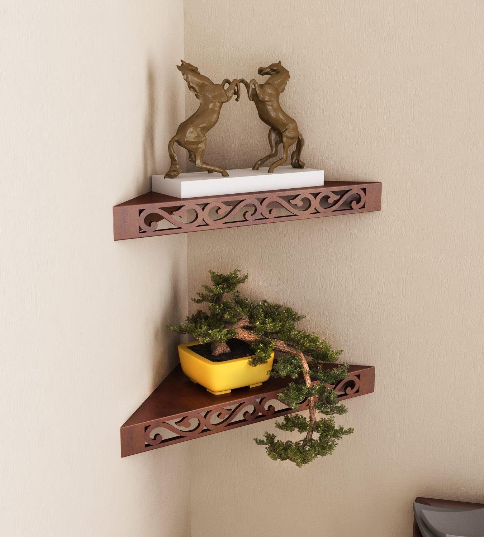 Home Sparkle MDF Decorative Corner Wall Shelves, Suitable For Living Room/Bed Room-Set of 2 (Designed By Craftsman)