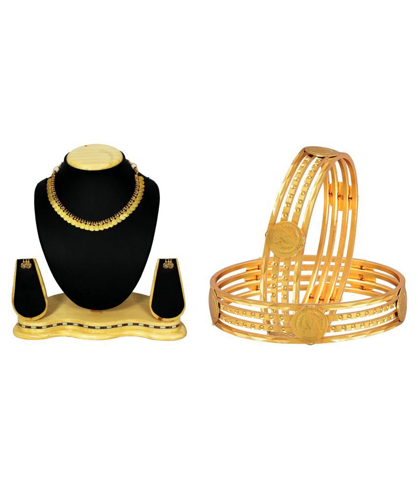 JSD Indian Fancy Style Necklace & Gold Plated Bangle Set for Women