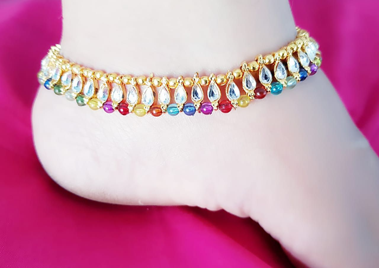Darshini Designs multicolour  Anklets set for women