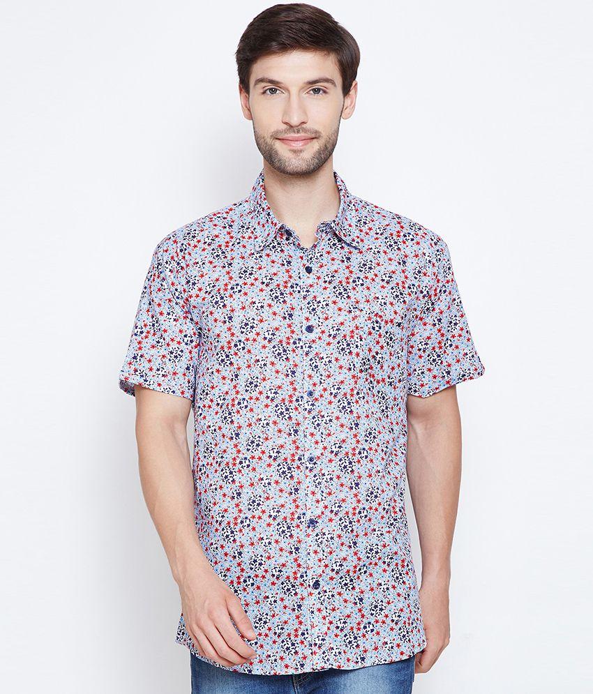 Oxolloxo 100 Percent Cotton Grey Prints Shirt