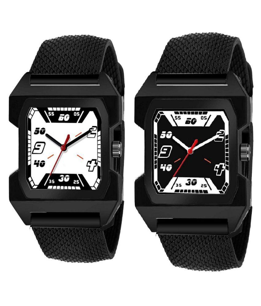 vasant new unique black combo analog mens watch