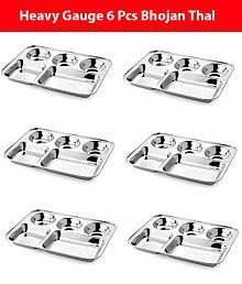 VPSK Stainless Steel 5 Partition Rectangular Bhojan Thaal, Set of 6 Pcs