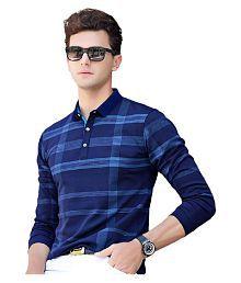 Eyebogler Polyester Cotton Navy Checks Polo T Shirt