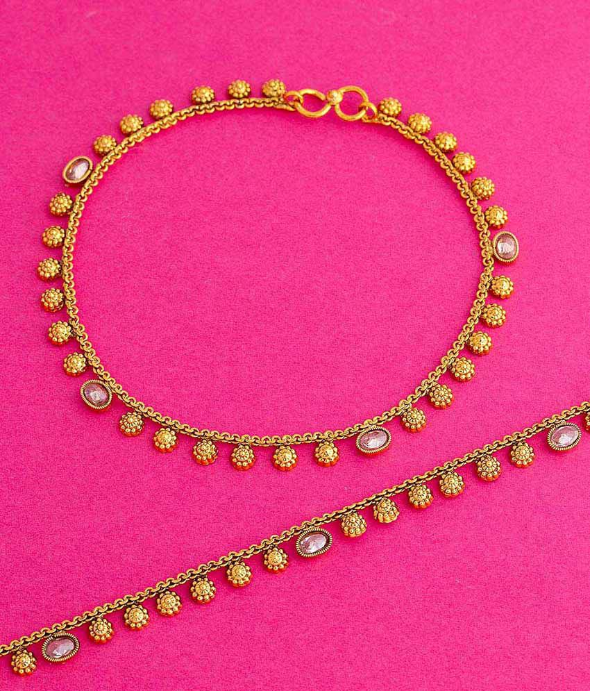 Voylla Yellow Gold Plated Anklets