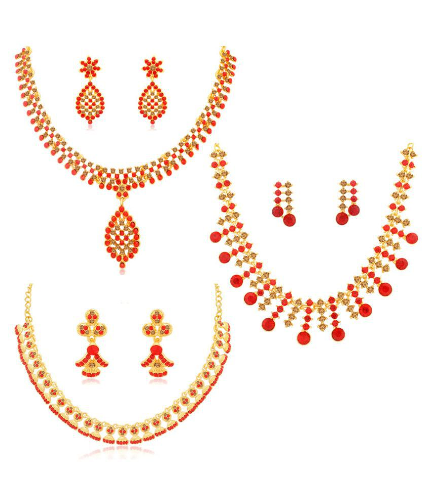 Sukkhi Alloy Red Collar Traditional 18kt Gold Plated Necklace set Combo
