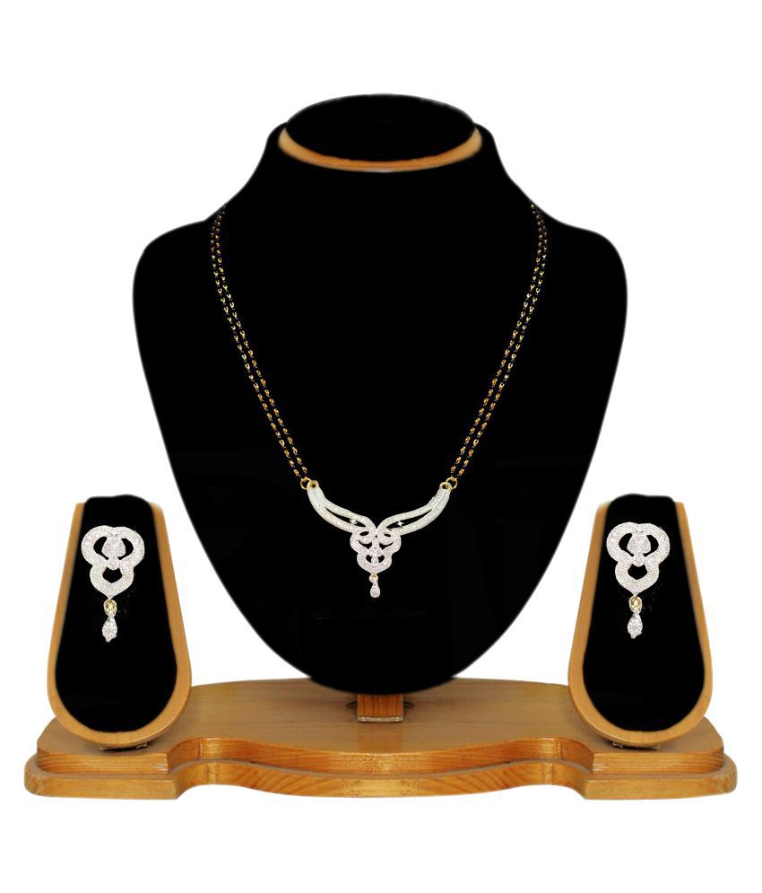 JSD Indian Traditional Style American Diamond Mangalsutra Set for Women