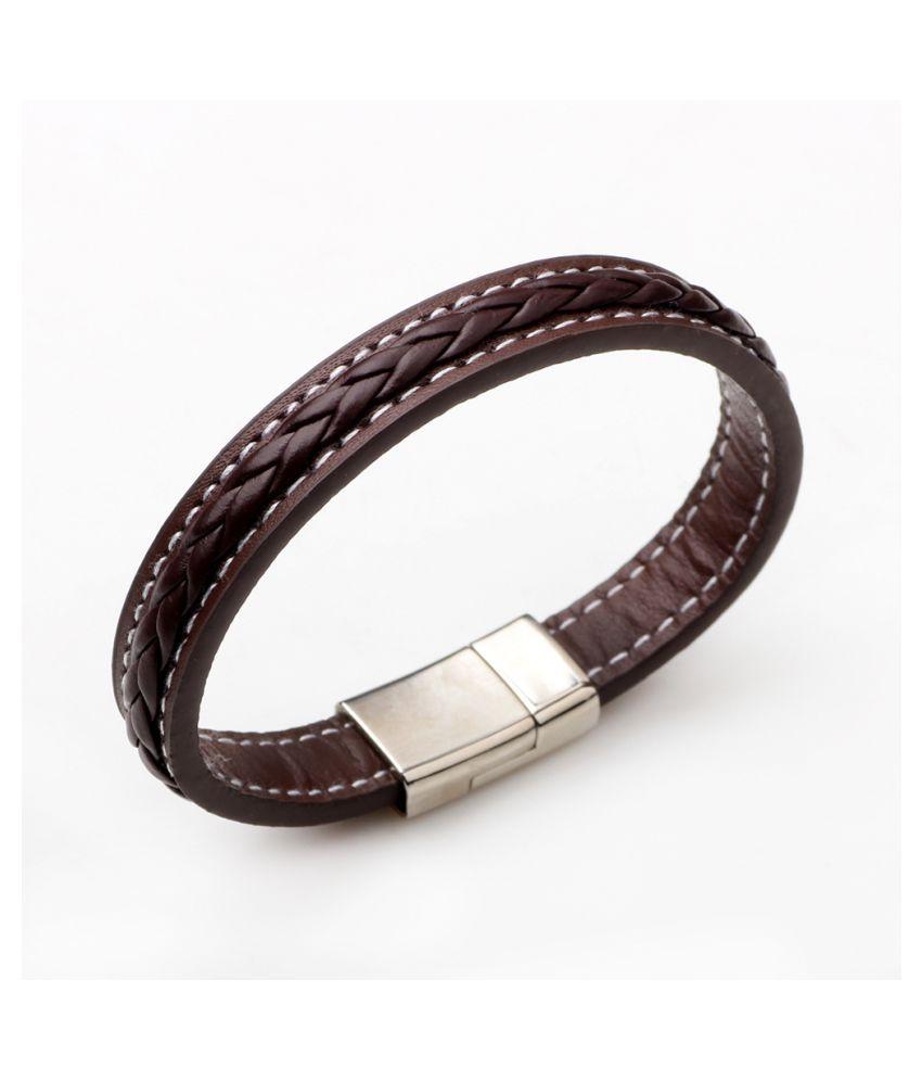 Mens Fashion Genuine Leather Braided Alloy Wristband Bracelet