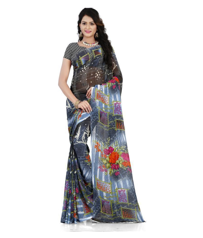 ANAND SAREES Grey Georgette Saree