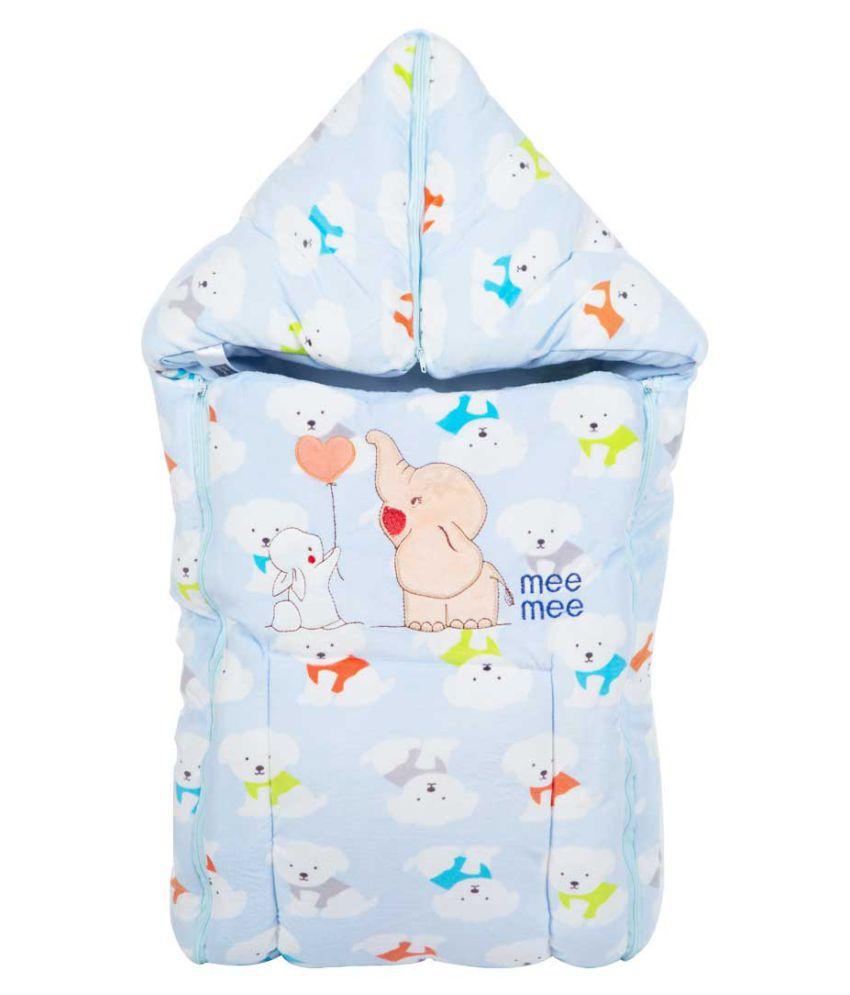 Mee Mee Blue Cotton Baby Wrap cum blanket ( 37 cm × 6 cm - 1 pcs)