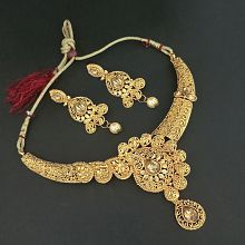cdf728fb3 Quick View. JewelMaze Alloy Golden Other Traditional Necklaces Set