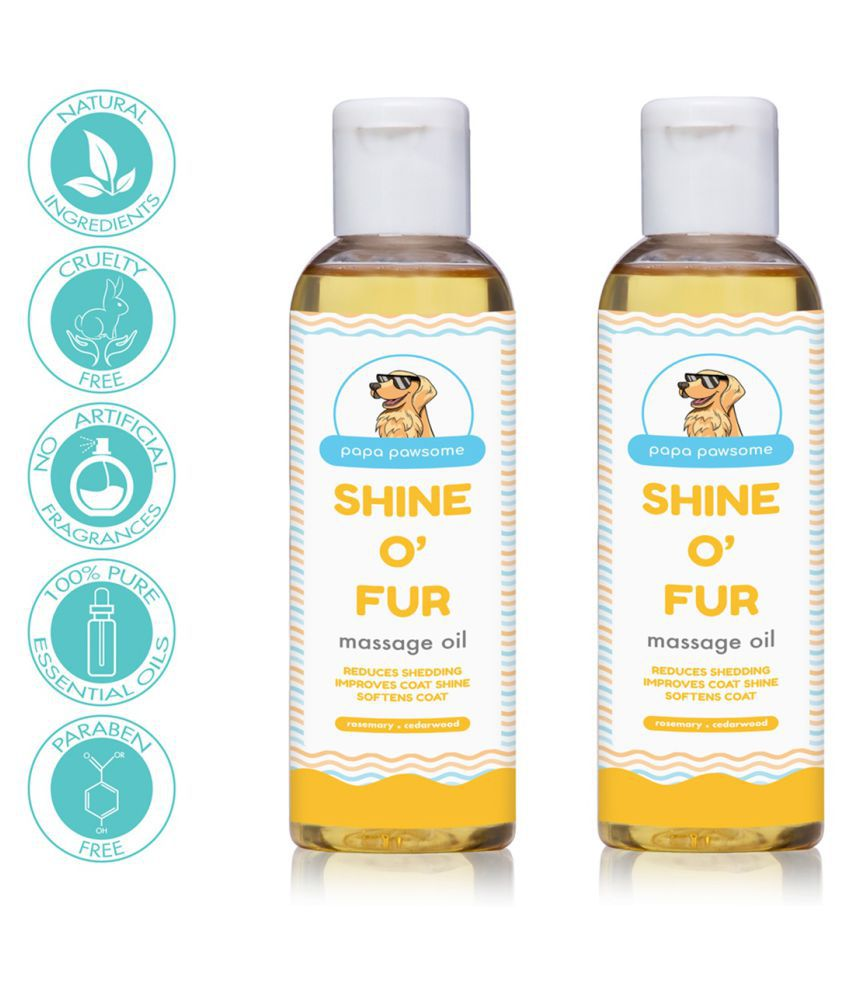 Papa Pawsome Shine O' Fur Massage Oil for Pet Dogs (100 ml Each) - Pack of 2