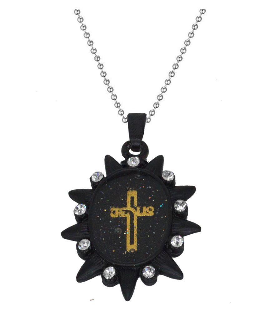 Men Style  Crystal Christ Crucifix Christian Cross Locket With Chain Rhodium Cubic Zirconia Metal, Alloy Pendant Set