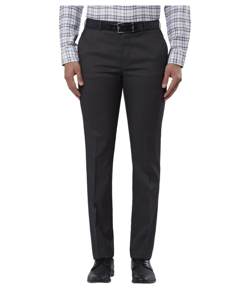 Raymond Grey Regular -Fit Flat Trousers