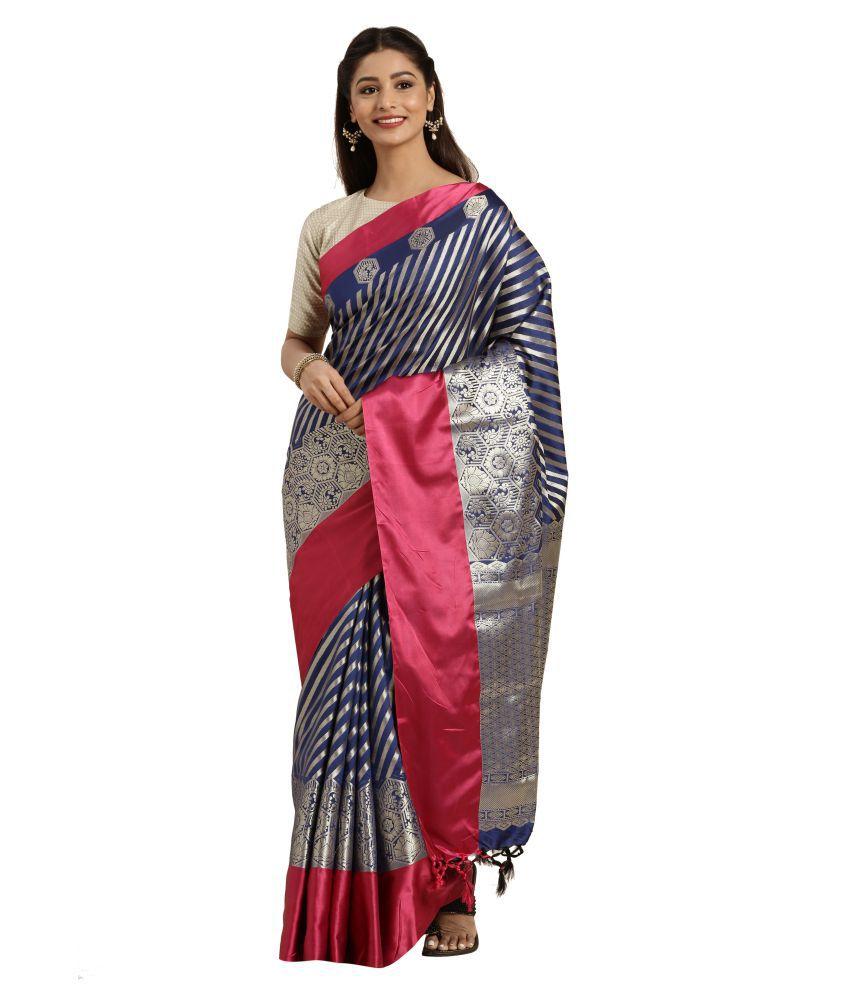Varkala Silk Sarees Blue,Pink Katan Silk Saree