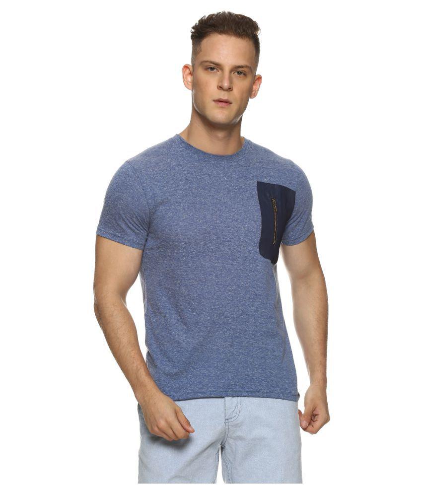 Campus Sutra 100 Percent Cotton Blue Solids T-Shirt