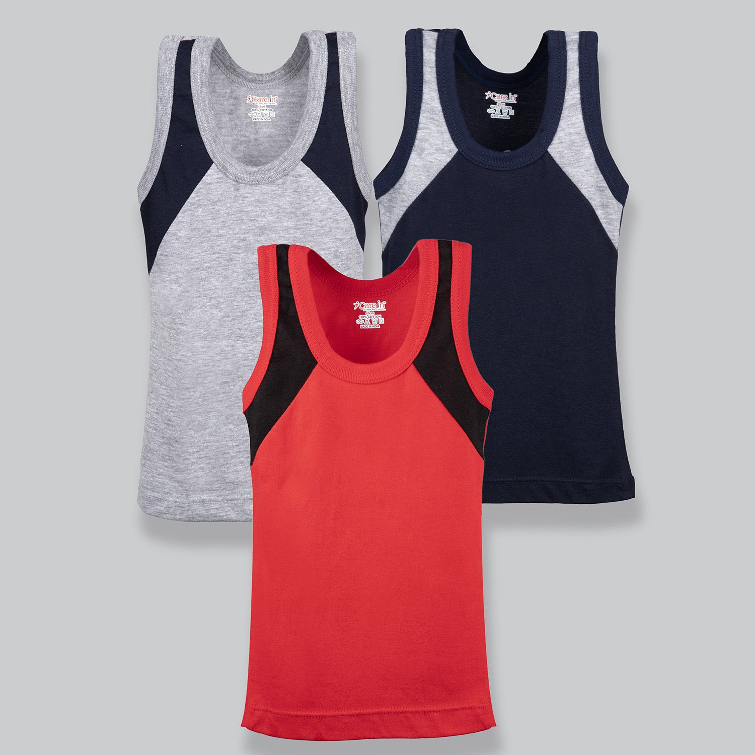 Care in Cotton Round Neck Sleeveless Sando Vest for Infants and Kids - Red, Navy and Millanch Color( Pack of 3)