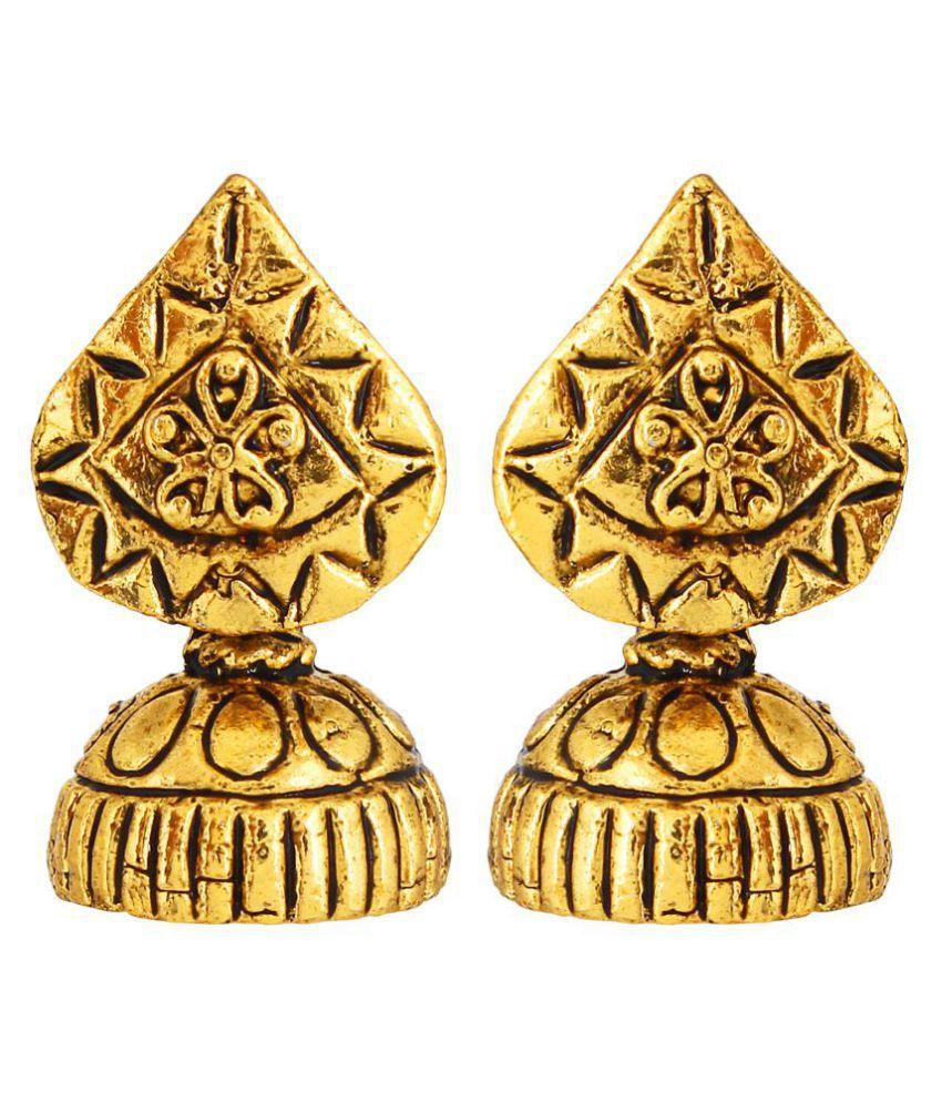 GoldNera Textured Feel of Mohanjo Daro Casted Design Jhumki Earrings