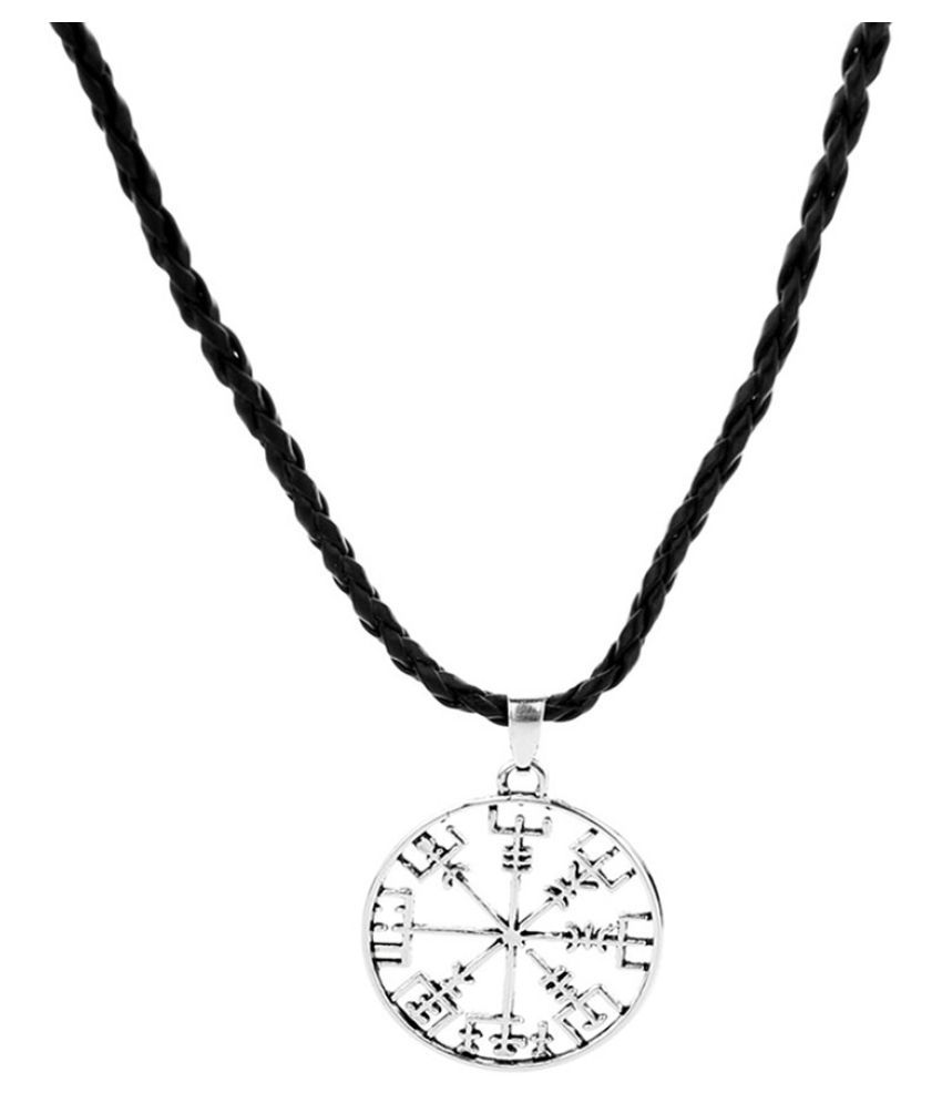 Creative Gossip Necklace Men Leather Chain Hollow Round Pendant Jewelry (Fashion Jewellery)