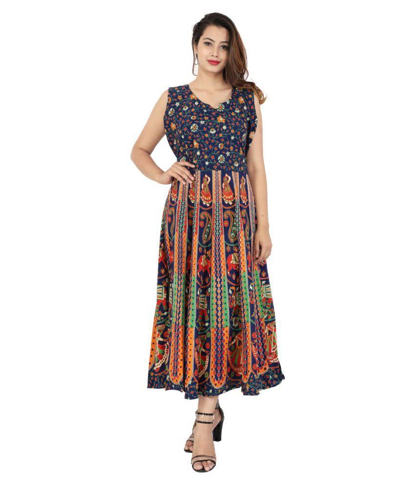 Rangun Cotton Blue Regular Dress