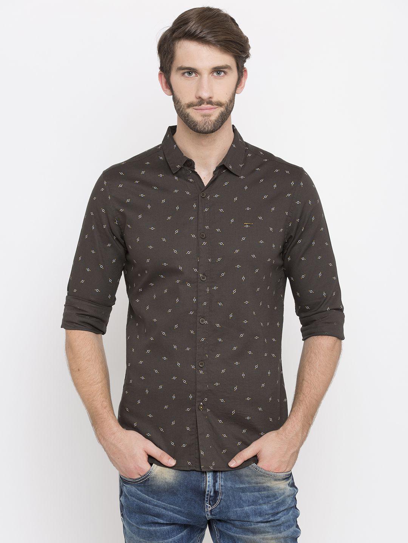 Spykar 100 Percent Cotton Brown Prints Shirt