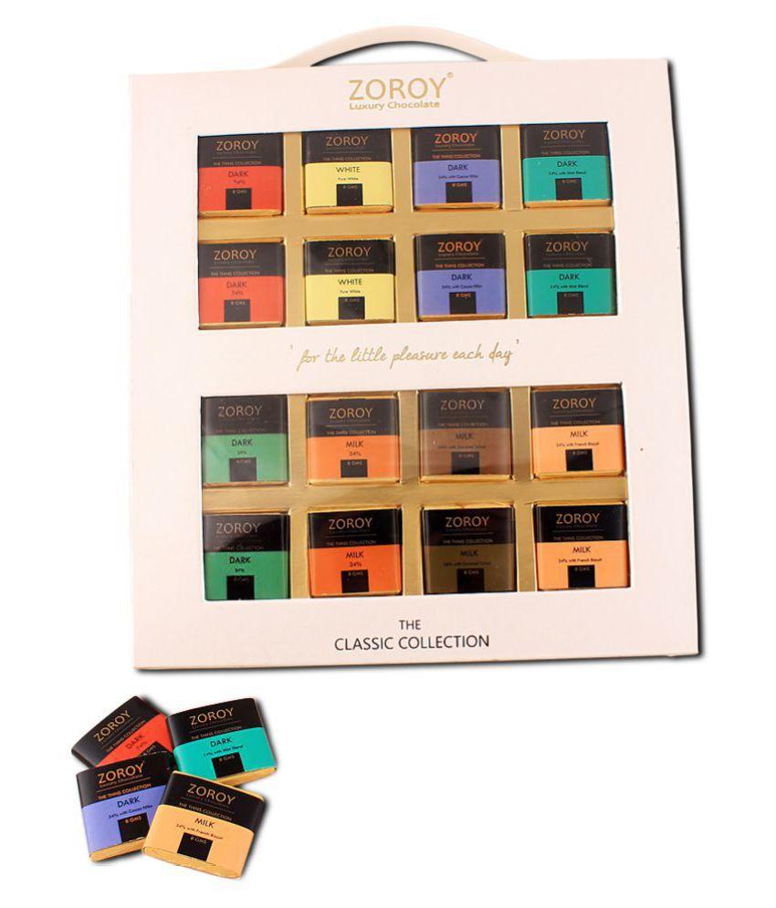 Zoroy Luxury Chocolate Chocolate Box Belgian 16 chocolate thins 128 gm