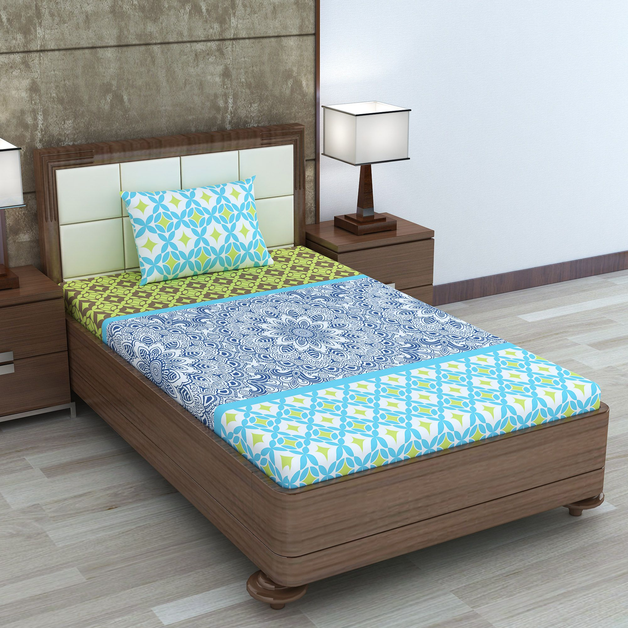 DIVINE CASA Cotton Single Bedsheet with 1 Pillow Cover