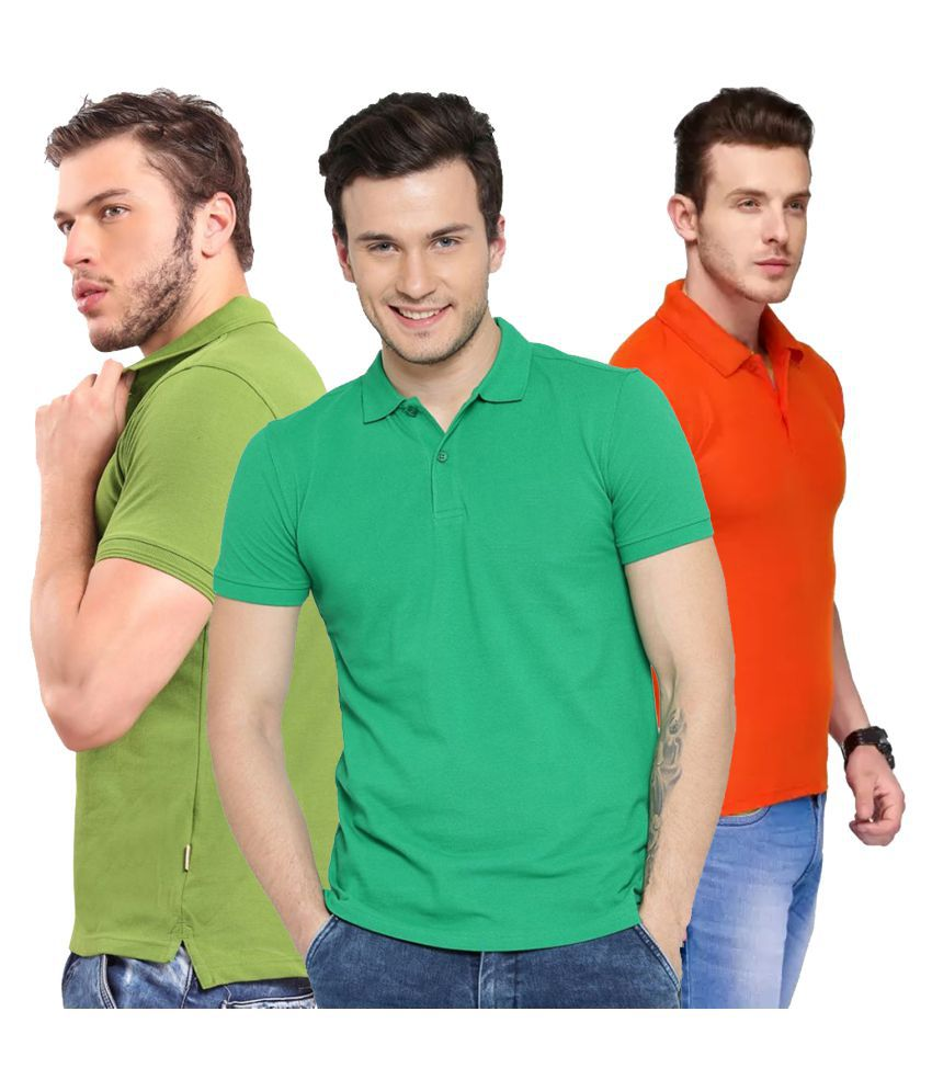 Freely Polyester Cotton Orange Solids T-Shirt