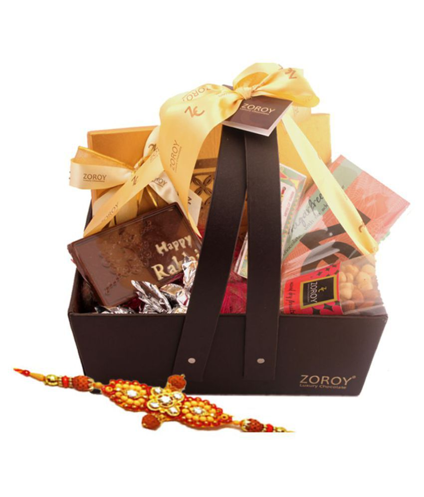 Zoroy Luxury Chocolate Chocolate Basket Rakhi Leather with chocolates, dryfruits 550 gm