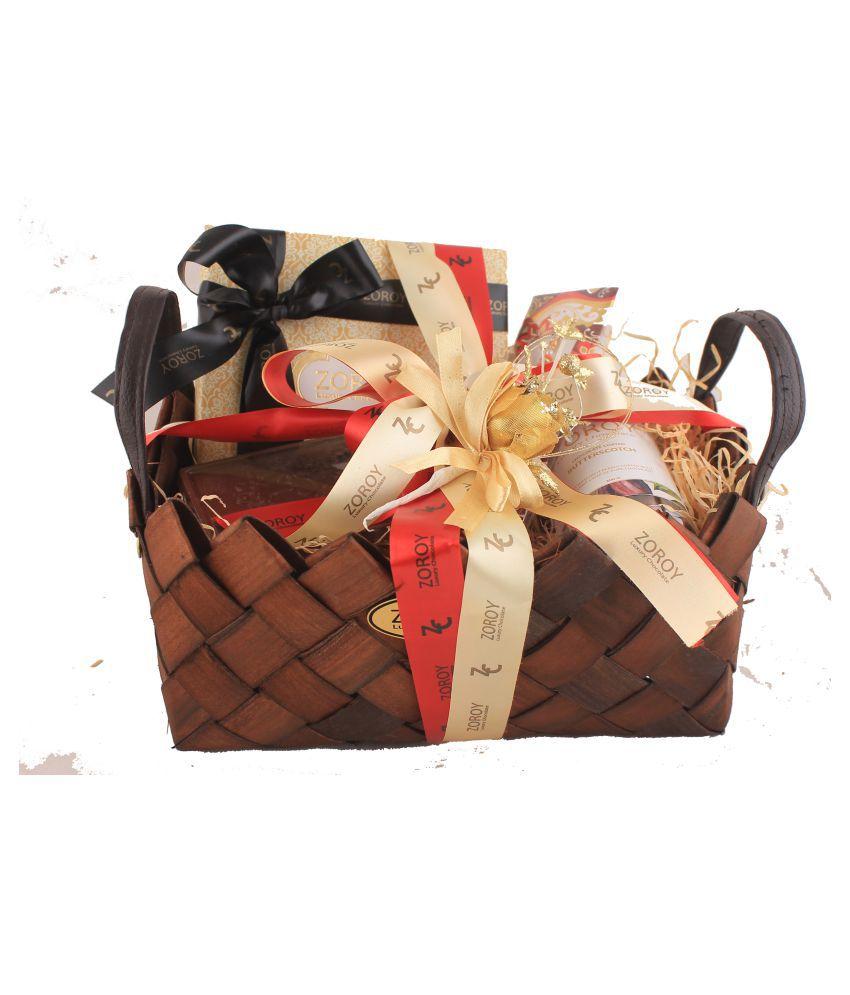 Zoroy Luxury Chocolate Chocolate Box Weave Rakhi  basket of asorted goodies 450 gm
