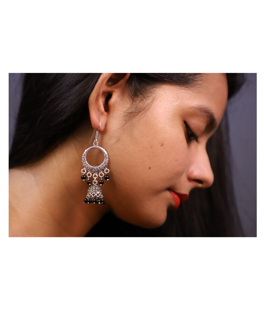 Econkart Silver Plated Circle Shape Earrings for Women & Girls