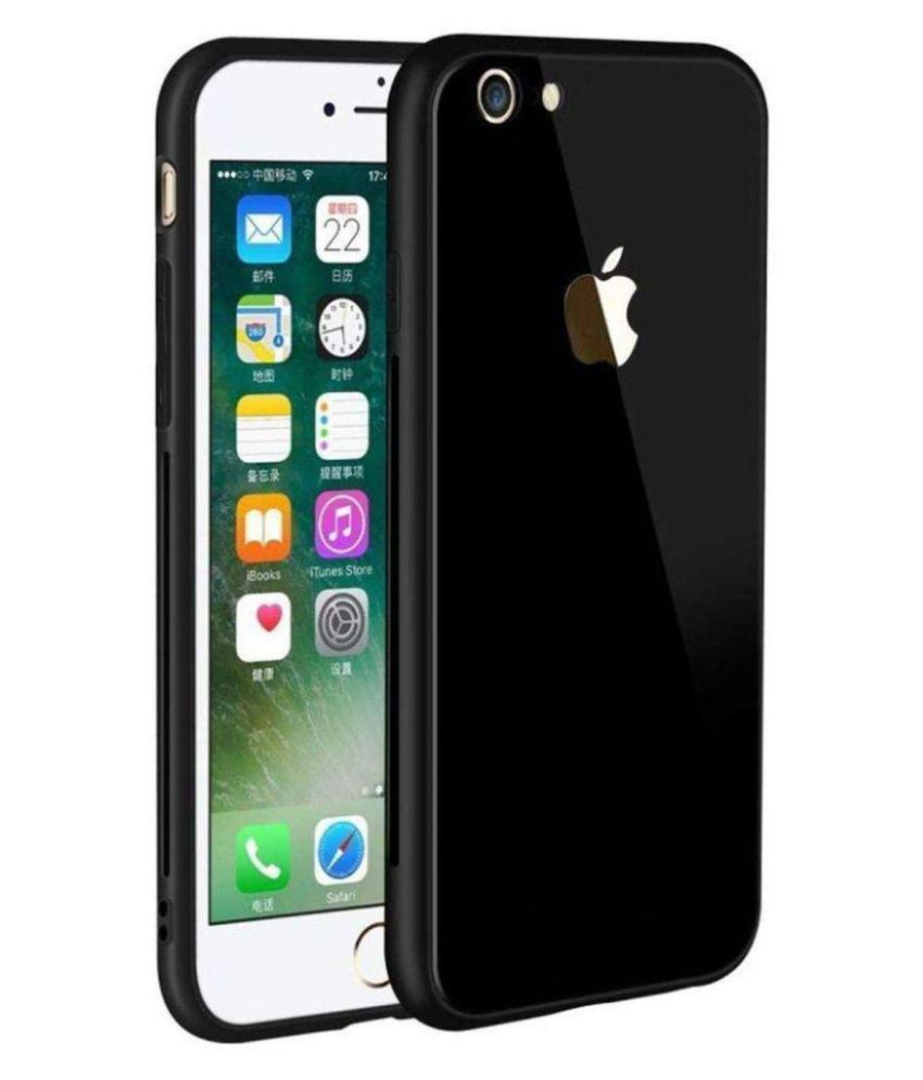 Apple Iphone 6 Mirror Back Covers KOVADO - Black 360°  Luxurious Toughened Glass Back Case