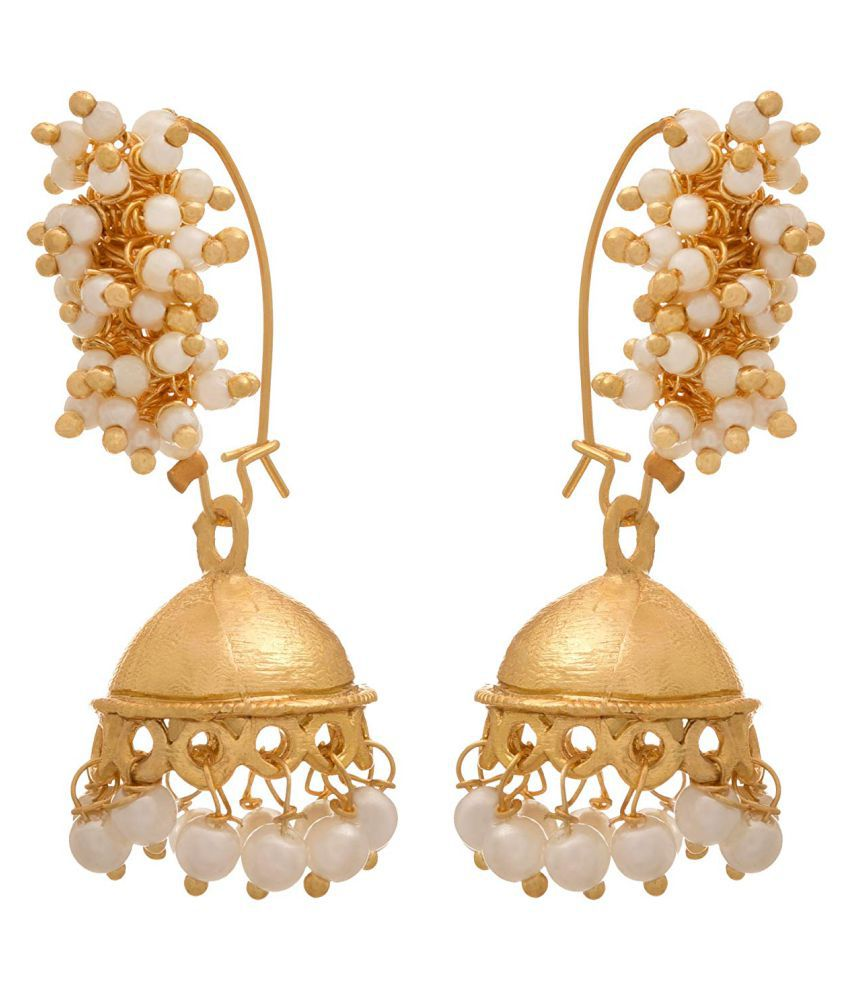 JFL - Jewellery for Less Traditional Ethnic 1 g Gold Plated White Pearls Jhumki Bali Earring for Girls and Women