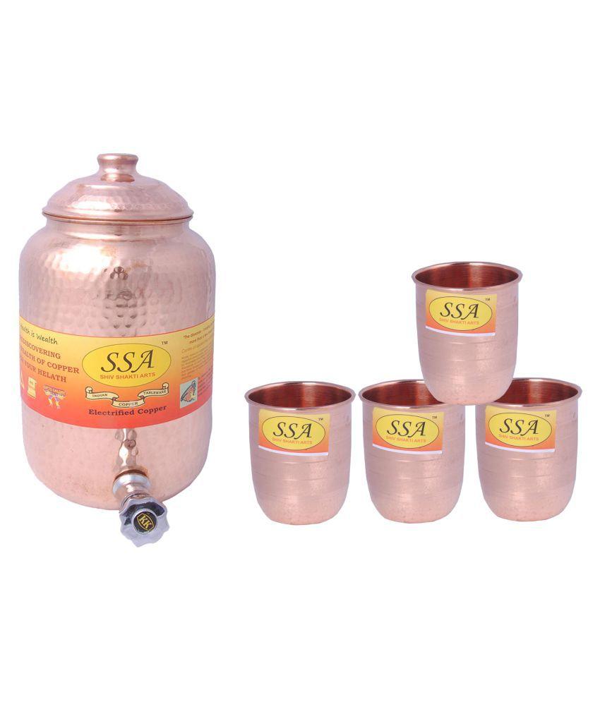Shiv Shakti Arts Pot & Glasses Combo 4 Pcs Lemon set