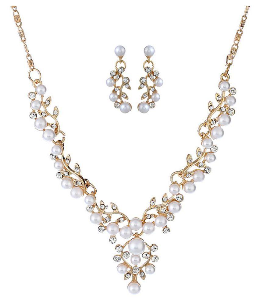 Imitation Pearl Necklace Vintage Palace Crystal Earrings Set Lady Jewelry (Fashion Jewellery)