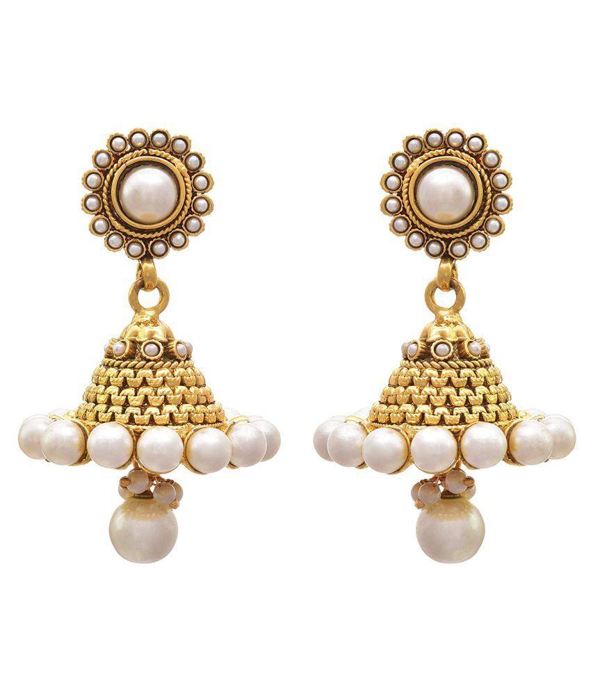 JFL - Traditional Ethnic One Gram Gold Plated Pearl Designer Jhumki Earring for Women & Girls