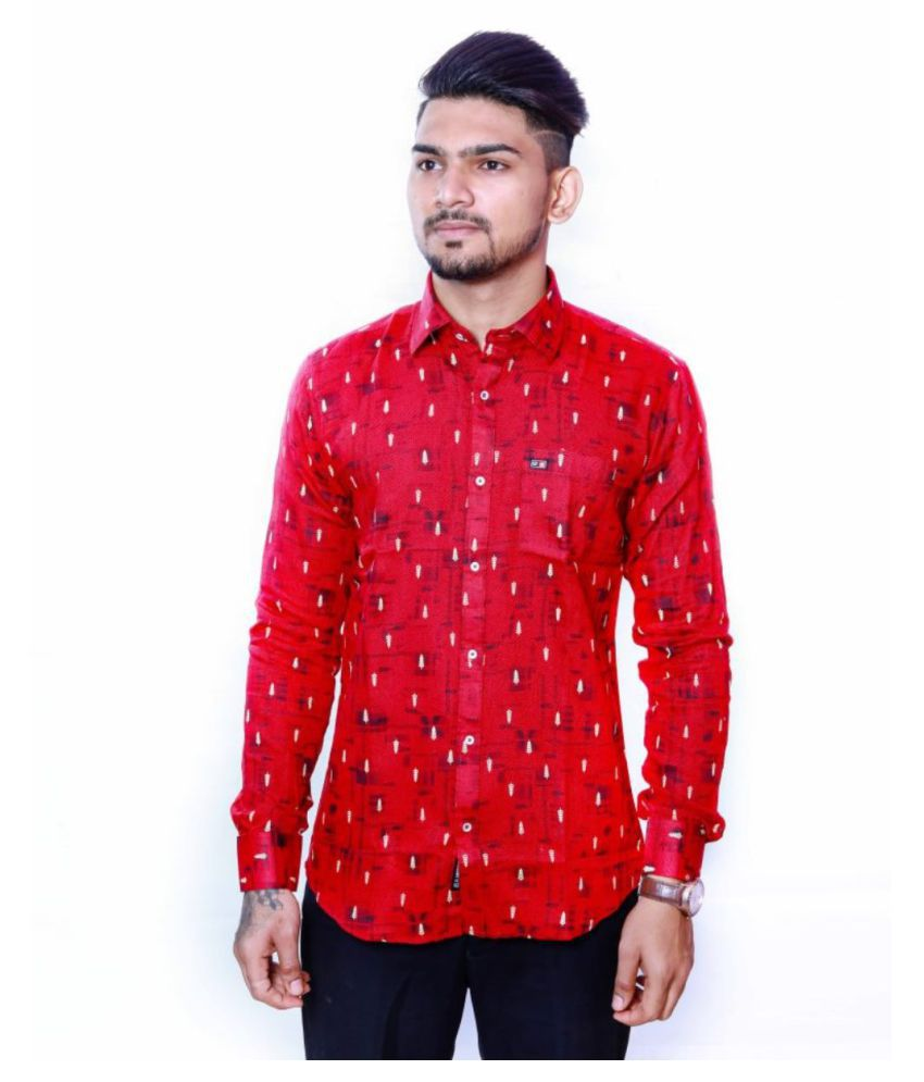 Glamtrend 100 Percent Cotton Red Prints Shirt
