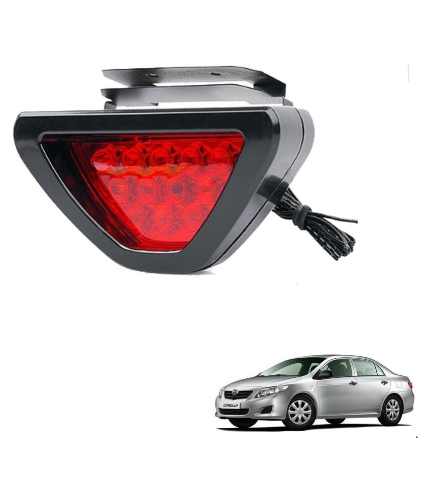 Auto Addict Car Triangle Shape 12 LED Red Color Brake Light with Flash Mode For Toyota Corolla