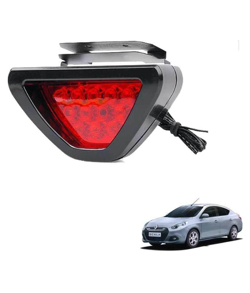 Auto Addict Car Triangle Shape 12 LED Red Color Brake Light with Flash Mode For Renault Scala