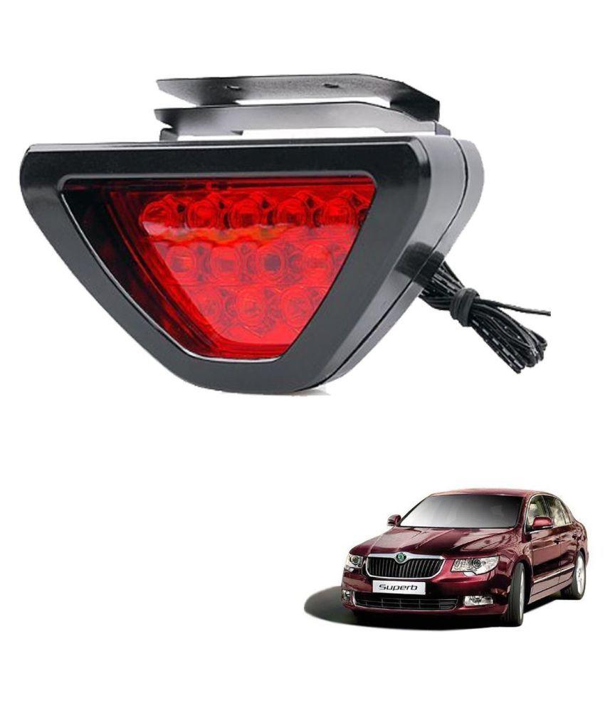 Auto Addict Car Triangle Shape 12 LED Red Color Brake Light with Flash Mode For Skoda Superb