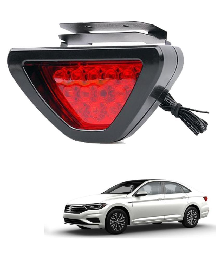 Auto Addict Car Triangle Shape 12 LED Red Color Brake Light with Flash Mode For Volkswagen New Jetta (2015-Present)