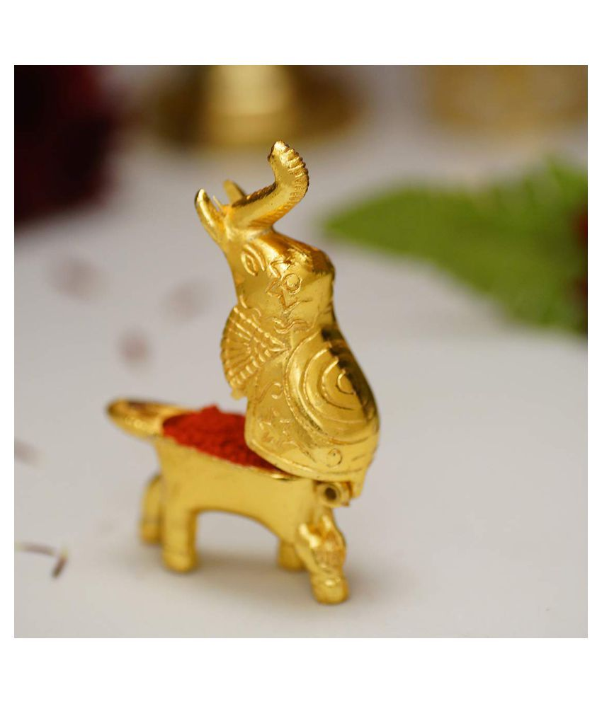 Aakrati Gold Metal Decorative Elephant - Pack of 1