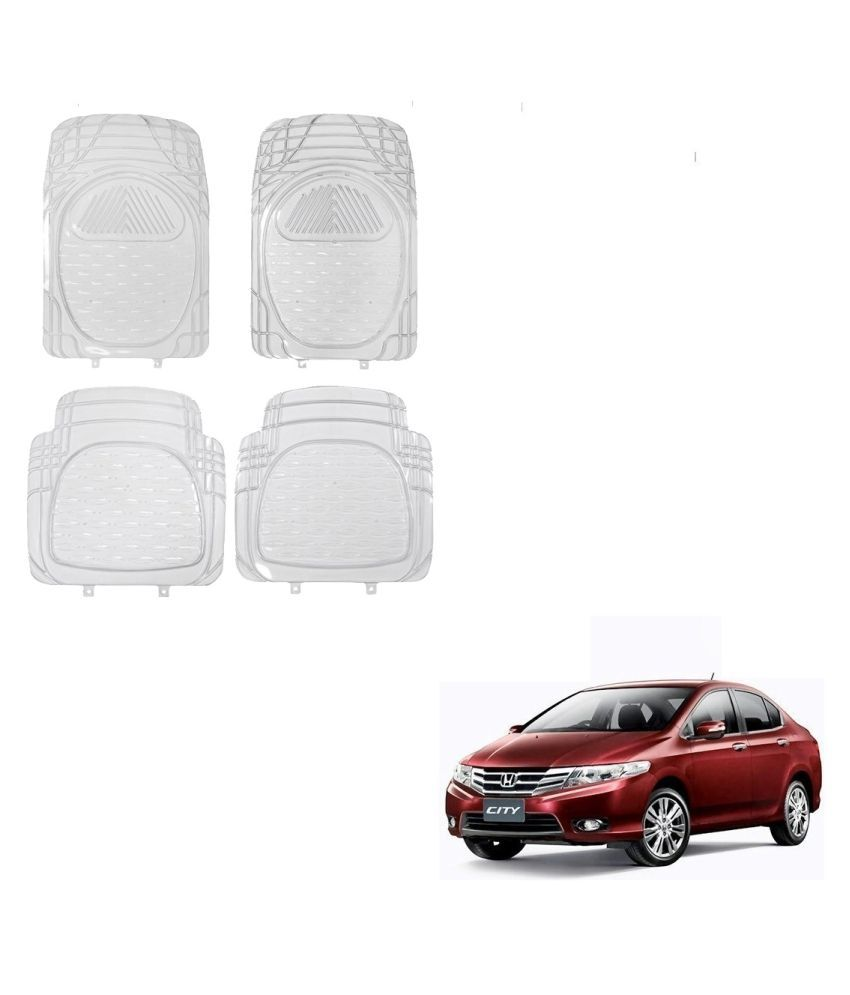 Auto Addict Car Rubber PVC Car Mat 6204 Foot Mats Clear Color Set of 4 pcs For Honda City Ivtec(2010-2014)