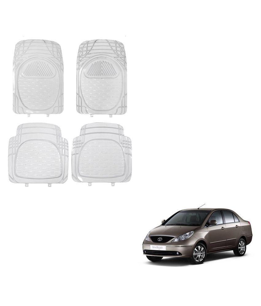 Auto Addict Car Rubber PVC Car Mat 6204 Foot Mats Clear Color Set of 4 pcs For Tata Indigo
