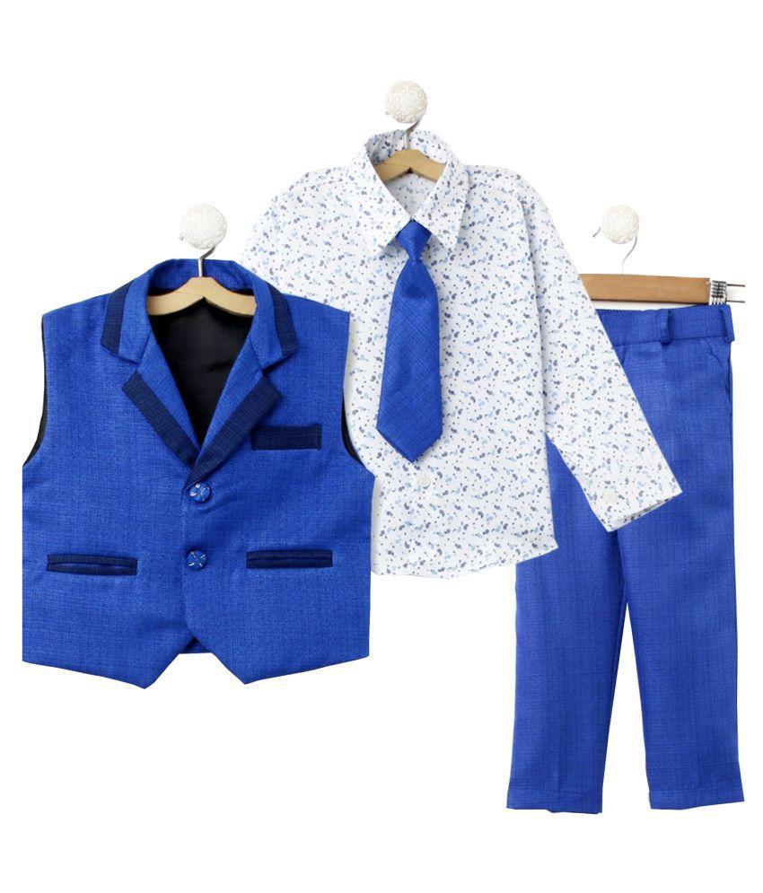 Jeetethnics Blue Cotton Boys Waistcoat Suit Set